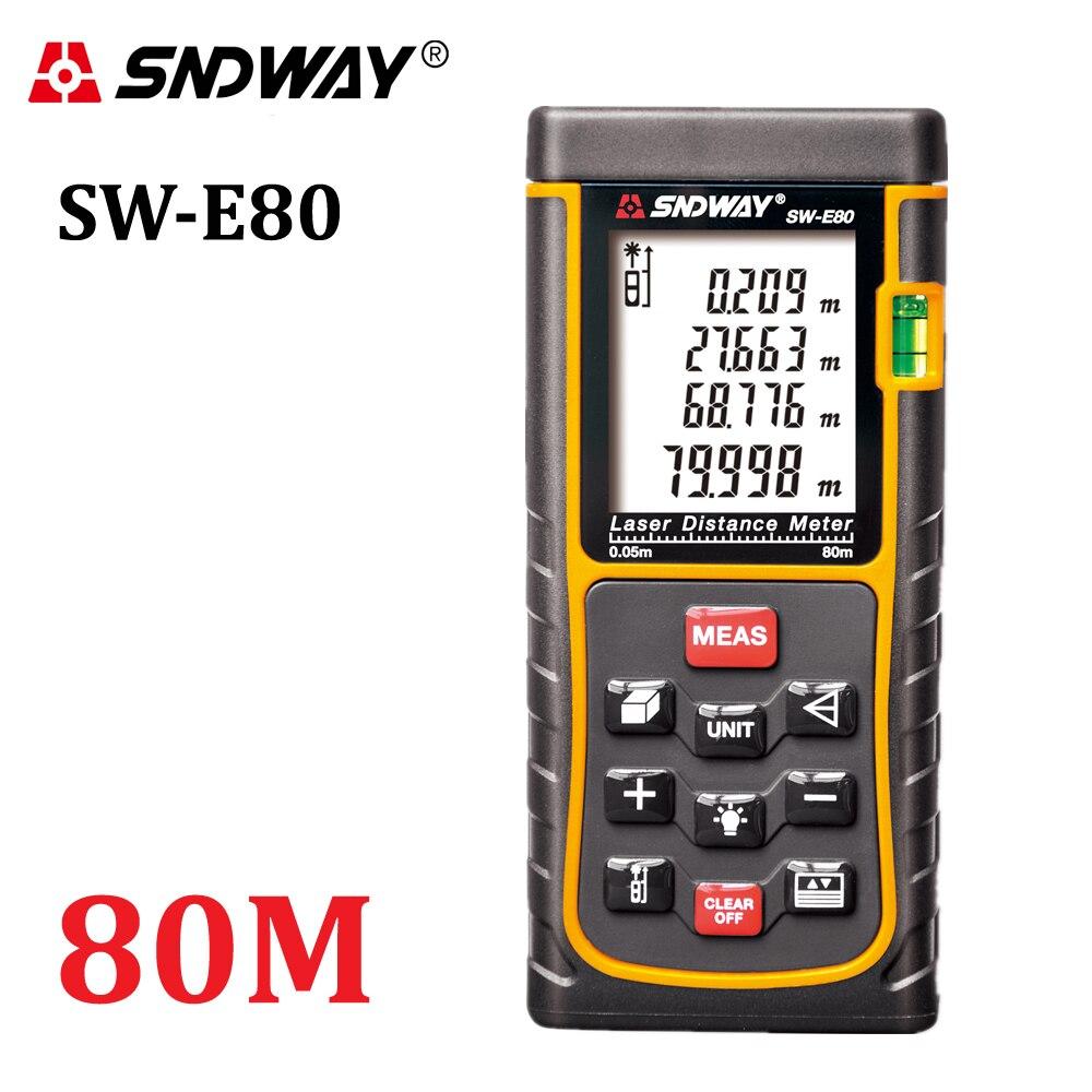 SNDWAY 80 m 262ft láser de mano medidor de distancia trena láser rango buscador telémetro medida SW-E80 área-Herramienta de volumen caza