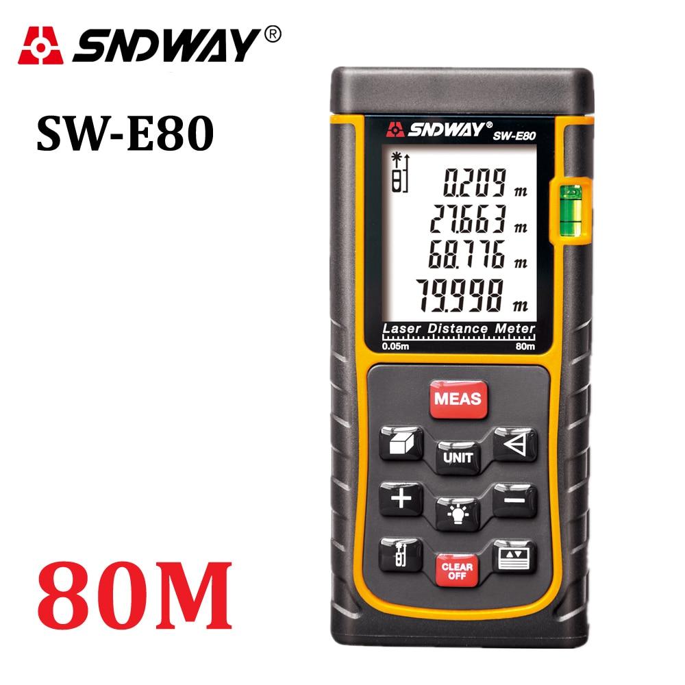 SNDWAY 80M 262ft handheld Laser distance meter trena Laser Range finder RangefinderTape measure SW-E80 Area-volume tool hunting цена и фото