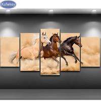Three Horse Full Diamond Painting 5 Panels Cross Stitch 5d Diy Diamond Mosaic Bead Embroidery Pattern