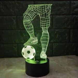 Image 4 - 3D サッカータッチテーブルランプ 7 色の変更デスクランプ usb 電源ナイトランプサッカー led ライト寝室の装飾のギフト