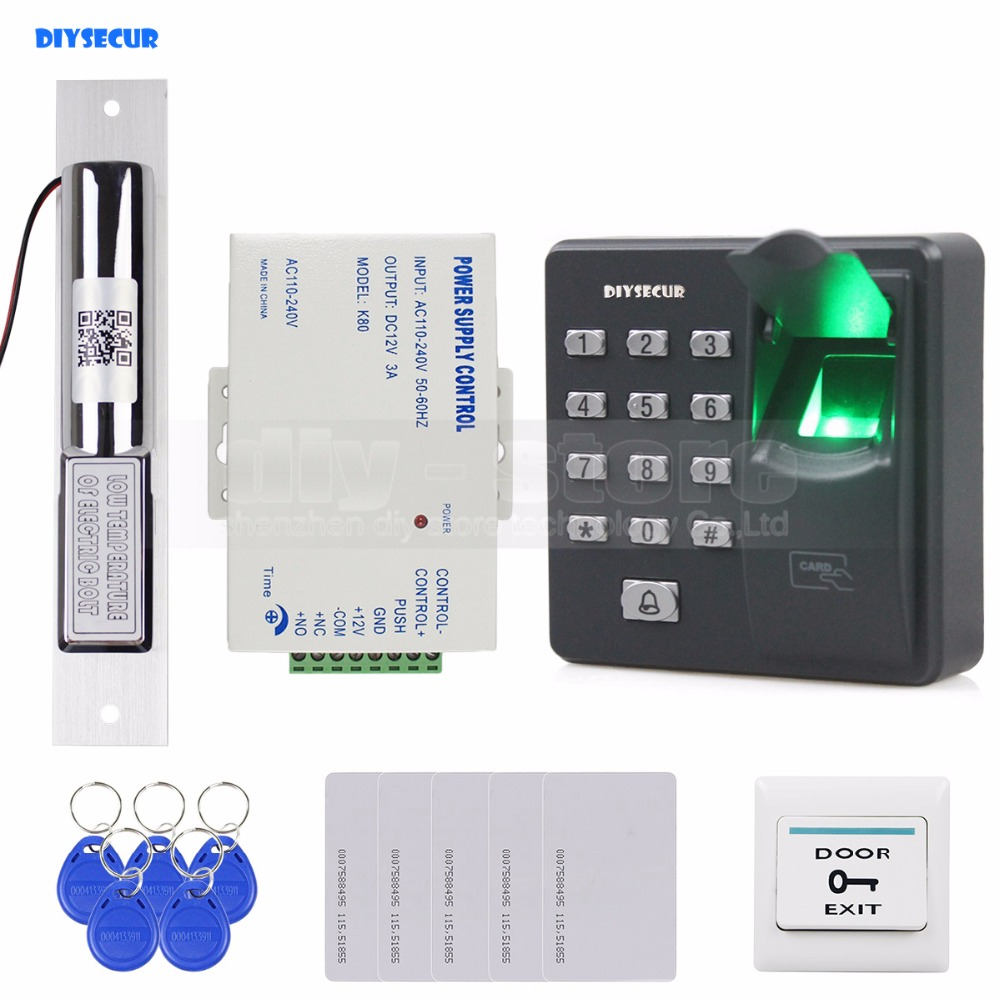цена на DIYSECUR Biometric Fingerprint RFID 125KHz Password Keypad Door Access Control System Kit + Electric Bolt Lock