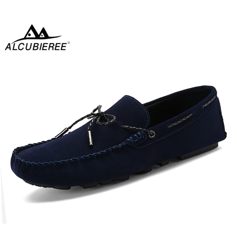 ALCUBIEREE Autumn Men Comfort Driving Shoes Fashion Mens Loafers Slip On Mocassins   Suede     Leather   Shoe Zapatos Homme Big Size 45