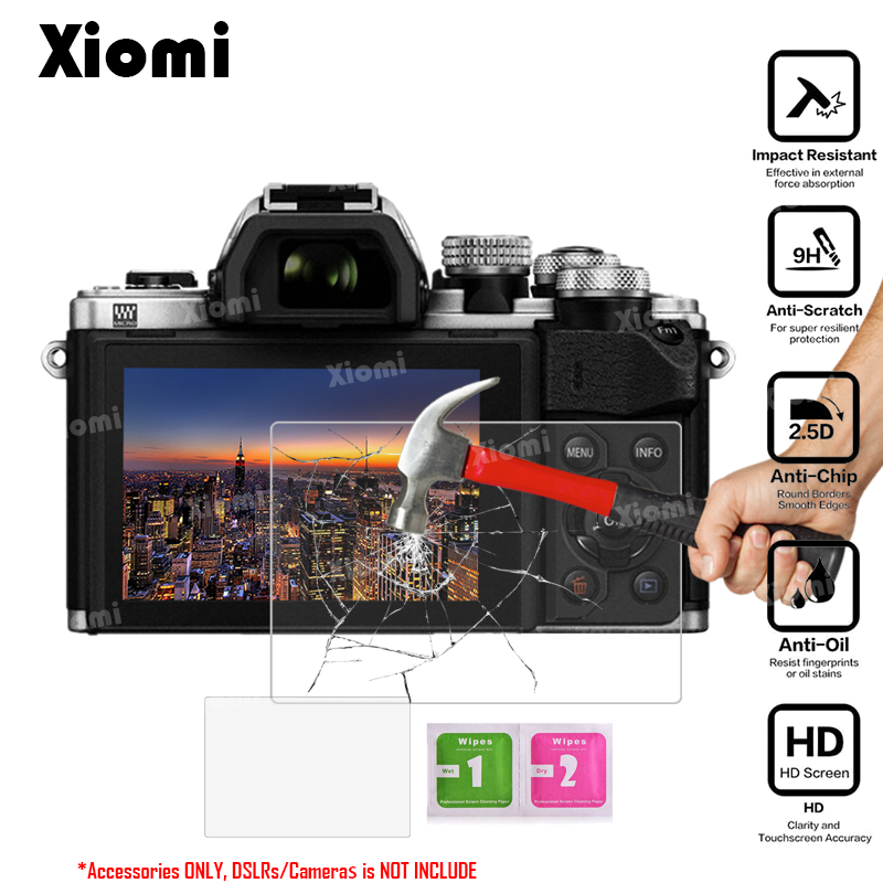 2Pcs/Lot(1Glass+1Wipe)Tempered Glass For DSLRs Olympus OM-D EM1 EM5 EM10 Mark II III Camera LCD Screen Protective Film Guard-!