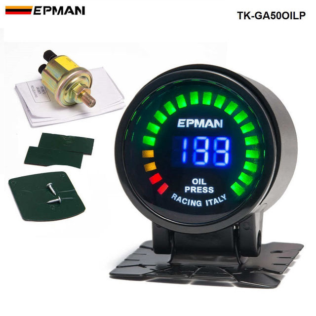 2015 New EPman racing 52mm Smoked LED Psi/bar Oil Pressure Gauge Meter with Sensor For FORD Mustang 4.6 L TK-GA50OILP