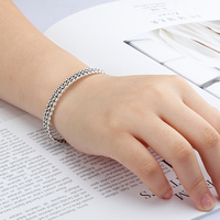 Classic 925 Sterling Silver European Style Simple Wave Roll Opening Bracelets Bangle Silver Color For Women Jewelry