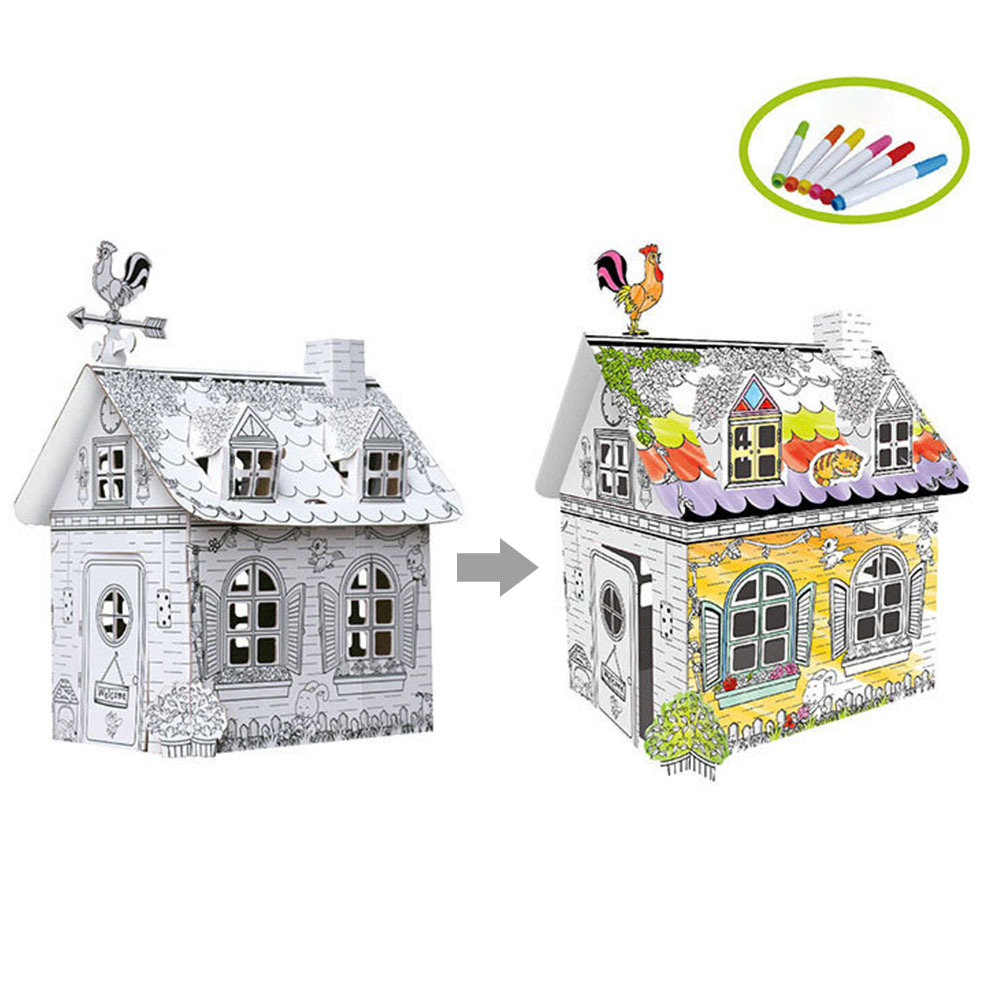 Child Drawing Toys Diy Coloured Graffiti House With 6 Color Pen Toys Creative Hand-painted Crafts Kids Early Education Toys