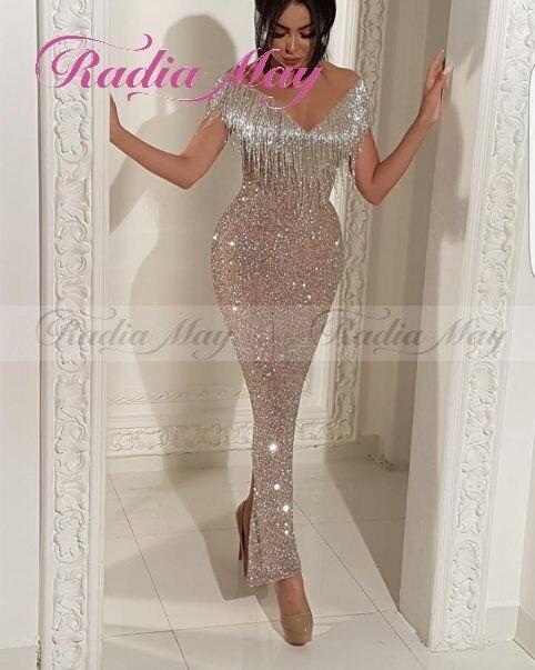 Glitter Pailletten Silber Arabisch Abendkleid Muslimischen Perlen Quaste Formale Party Kleider Dubai Prom Kleider Marokkanischen Kaftan Kleider