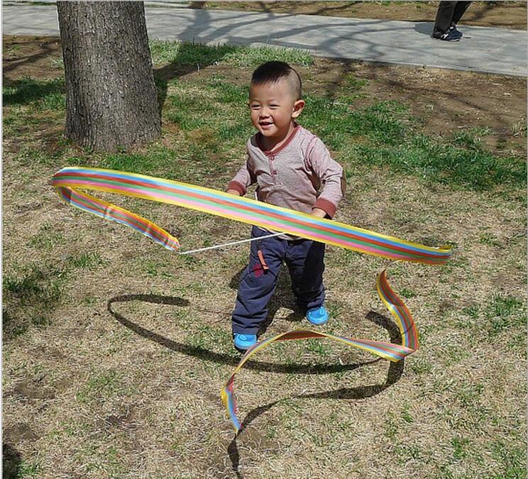 Children Fun Outdoor Toys Rainbow Ribbon Childrens Sports Rhythmic Gymnastics Exercises 400cm Cheerleading Rope Unisex Toys