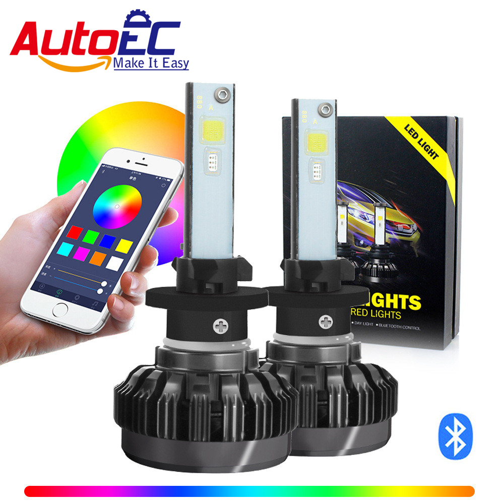 AutoEC 1 Set H4 H7 RGB LED headlight Bulb APP Bluetooth Control H1 H3 H8 H11 HB3 HB4 Car Light Headlamp colorful head light#LN73