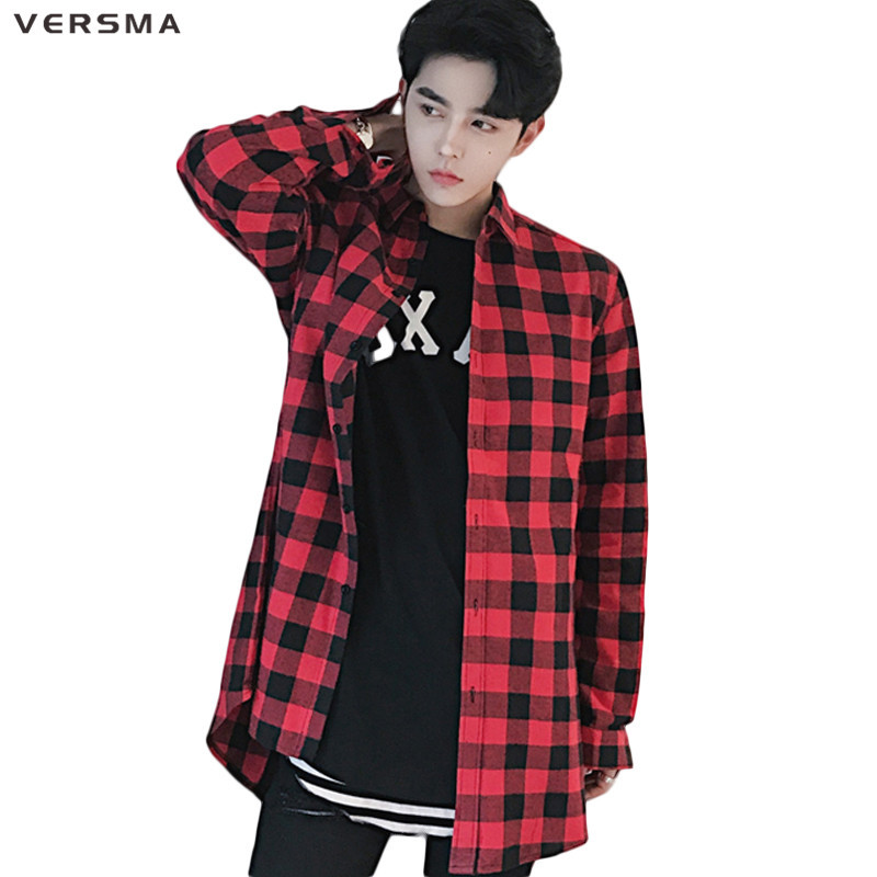 VERSMA 2017 Hip Hop Casual Double Slider Zipper Red Black Plaid Shirt Men Camisa Chemise Red Checkered Shirt Men Tartan Clothing