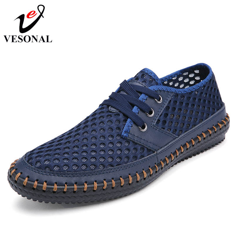 VESONAL Summer Style 2018 Breathable Light Soft Male Mesh Shoes For Men Genuine Leather Walking Casual Adult Quality Footwear vesonal 2017 quality mocassin male brand genuine leather casual shoes men loafers breathable ons soft walking boat man footwear