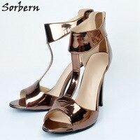 Sorbern Women Pumps Plus Size T Strap Zipper High Heels Ladies Shoes 2018 Coffee Peep Toe Large Size Pumps Women Shoes Zapatos