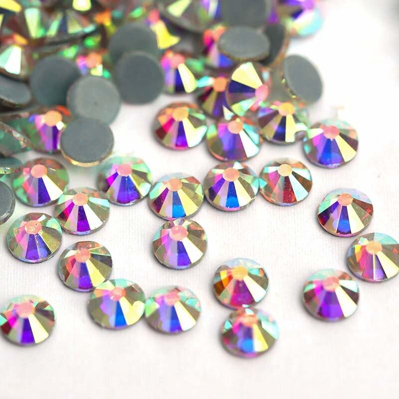 Стразы искусственные кристаллы ab Горячая фиксация с плоским
