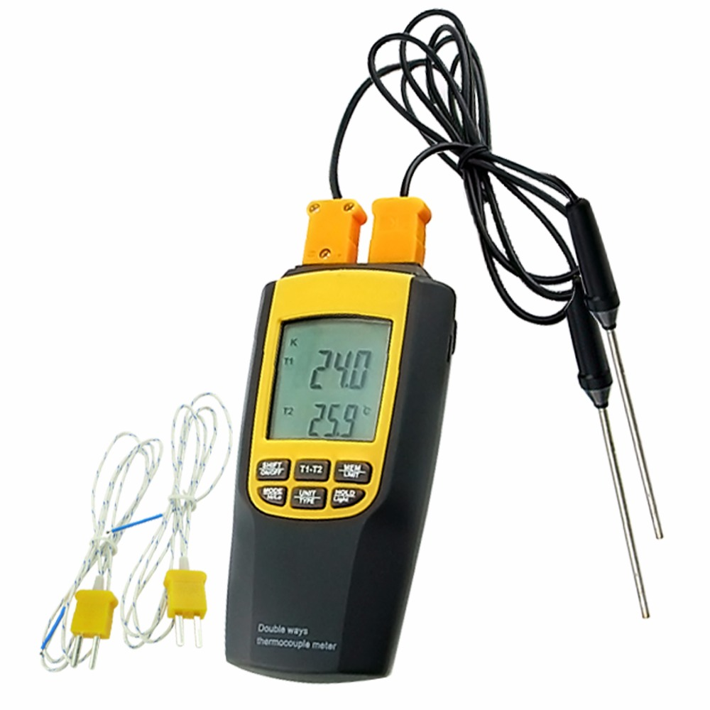 K or J Type Thermocouple Thermometer Probes Portable Celsius / Fahrenheit Temperature Tester Sensors az 8851 3 in 1 portable k j t single thermocouple thermometer meter thermometer tester