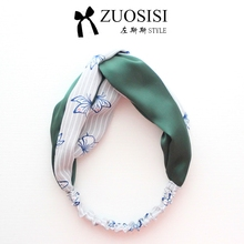 Fashion Women / Girl Kids, Headband, Green White, Butterfly Print, Hair Band,, Thin, Cute Lovely for Summer Spring