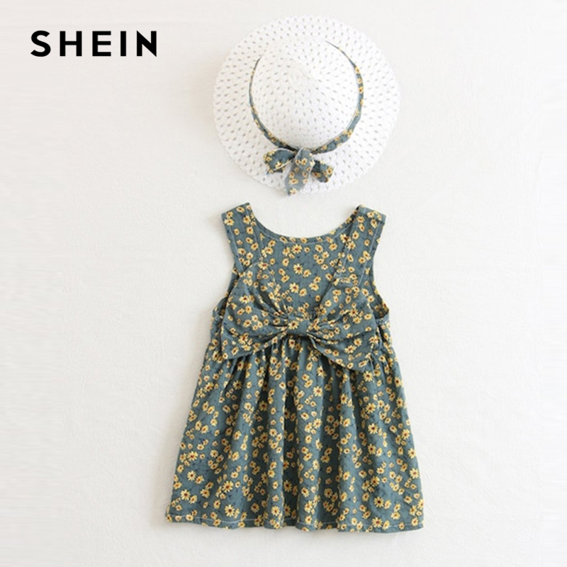 SHEIN Kiddie Girls Floral Bow Front Casual Dress With Hat Kids Clothes 2019 Spring Korean Fashion Sleeveless Cute Short Dresses beige floral lace stitching round neck short sleeves chiffon mini dress