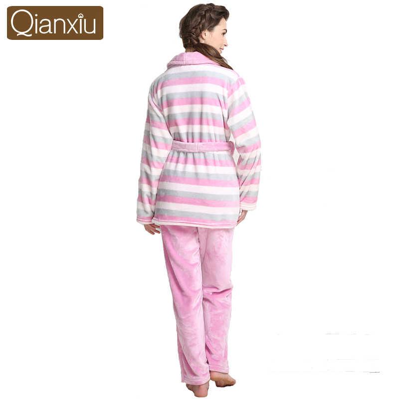 Бренд Qianxiu пижамы утолщенная норковая шерсть пижамный комплект женское утепленное платье Домашняя одежда 1364