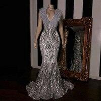 PEORCHID 2019 женское серебряное вечернее платье из перьев блесток Русалка без рукавов Abiti Da Sera Lunghi формальное платье длинное платье для выпускно