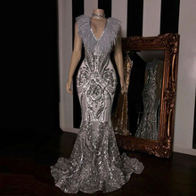 PEORCHID 2019 Women Silver Feather Evening Dress Mermaid