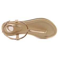 Simple Clip Toe 2017 Women Sandals T-Strap Flip Flops Flats Shoes Metal Sequins Beach Sandals for Lady plus size 11/42 XWF0434-2