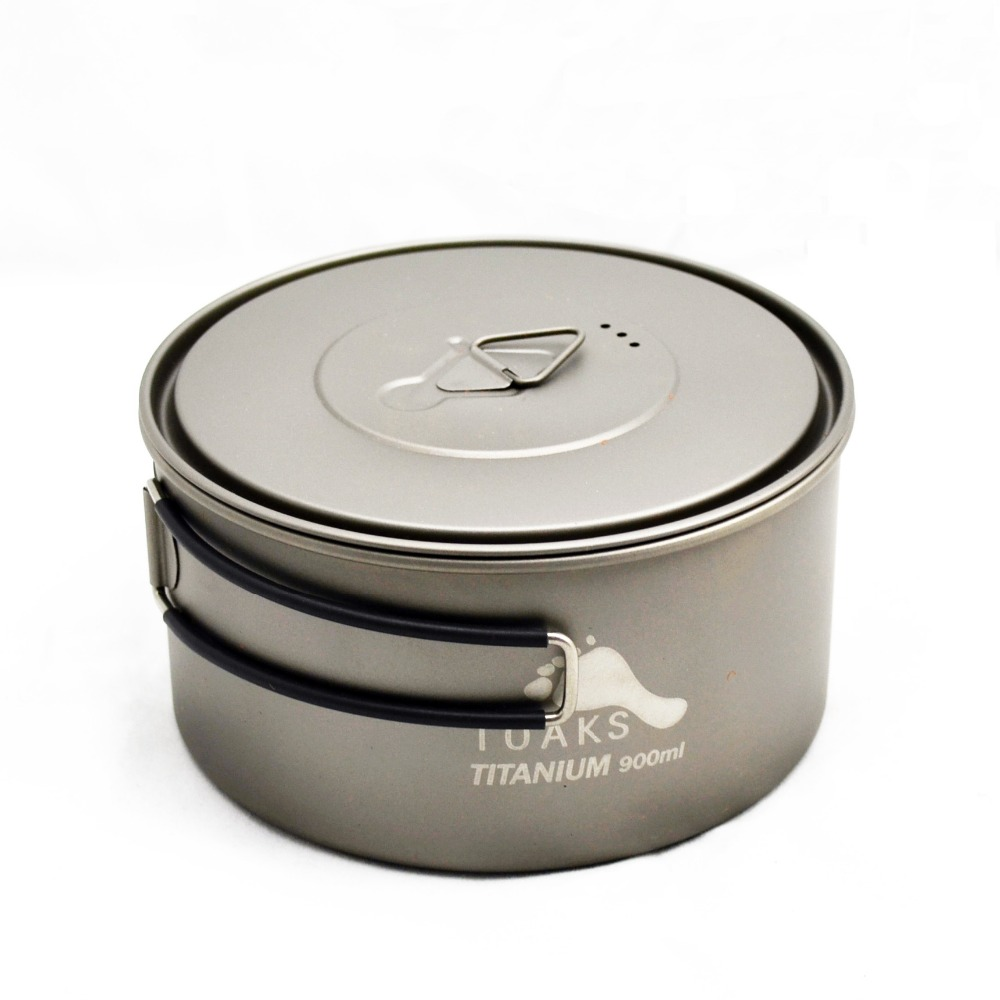 TOAKS 900ml Titanium Pot Titanium with Lid Foldable Handle Outdoor Camping Cooking Picnic Pot Bowl toaks slv 04 camping titanium spork