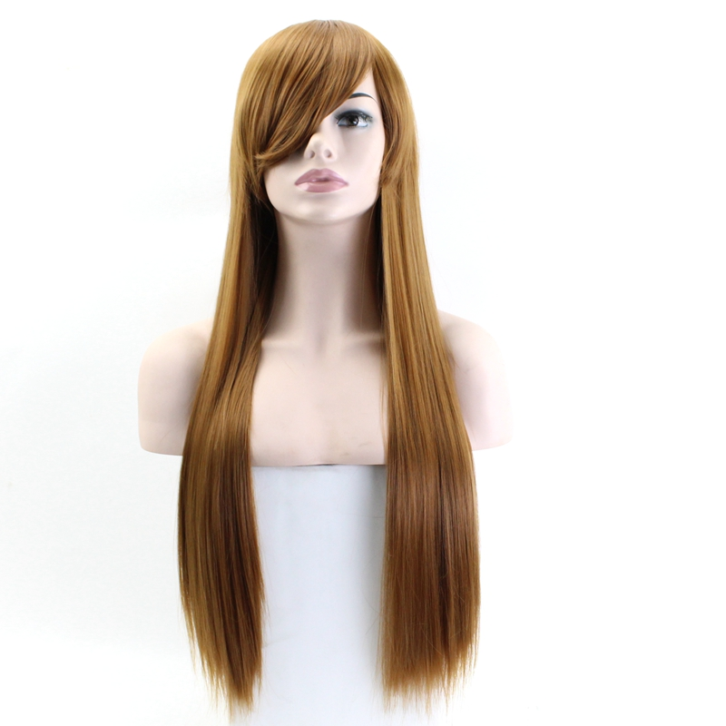 JOY&BEAUTY 80CM Long Straight Cosplay Wig Synthetic Hair Heat Resistant Black Gray Red Pink Blue Brown Many Colors Available