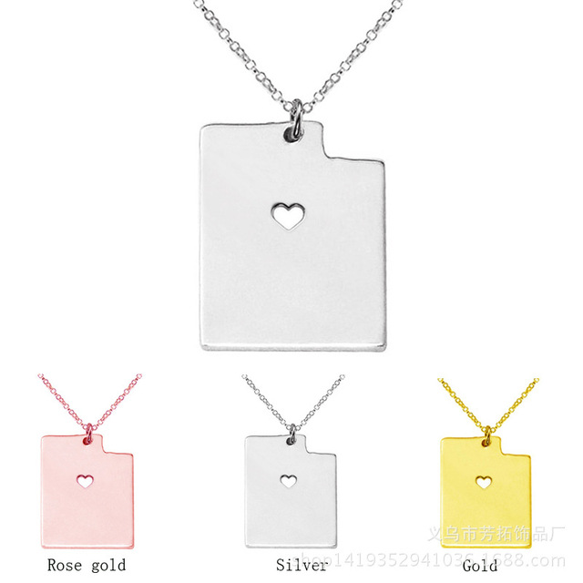 Suteyi utah state necklaces with a heart utah map pendants stainless suteyi utah state necklaces with a heart utah map pendants stainless steel necklace summer style necklace aloadofball Gallery