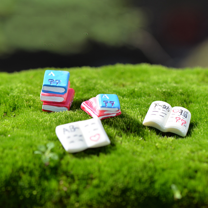 1Pcs Book Words DIY Resin Fairy Garden Craft Decoration Miniature Micro Gnome Terrarium Gift F0036