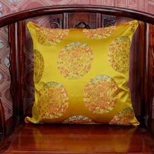 Винтаж жаккардовая подушка для кресла, дивана крышка шелковая подушка чехол площадь в этническом стиле декоративные подушки атласные рождественские наволочка 45x45 - Цвет: yellow dragon