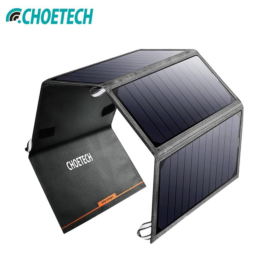 CHOETECH Solaire Panneau Chargeur Chine 24 w cellule Solaire Chargeur pour iPhone USB Port Portable batterie Char pour Xiao mi samsung Huawei