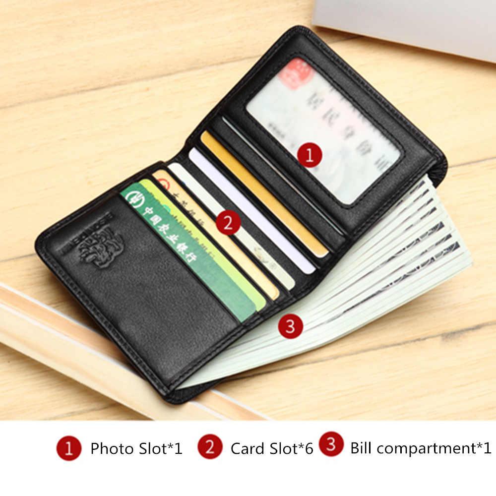 Bison denim masculino carteiras preto genuíno couro bolsa para homem titular do cartão de visita carteira mini n4429