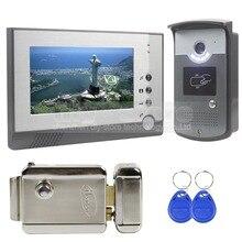 DIYSECUR Electric Lock 7 inch Color Video Door Phone Visual Intercom Doorbell Card Key Reader RFID LED Night Vision Camera