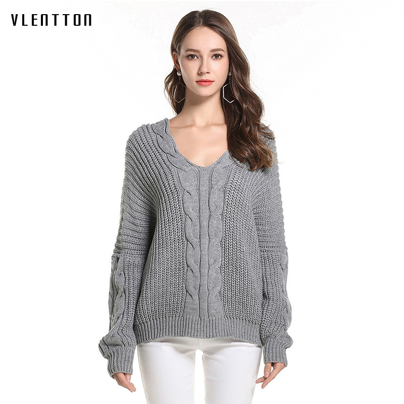 <font><b>Women</b></font> Winter <font><b>Sweater</b></font> <font><b>2018</b></font> New Long sleeve V-Neck Solid Color Pullover Female Knitwear Loose Jumper mujer <font><b>invierno</b></font> image