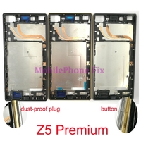 Middle Housing Frame Chassis For Sony Xperia Z5 Premium Z5P E6853 E6833 E6883 Front Frame Bezel + Button + dust proof plug
