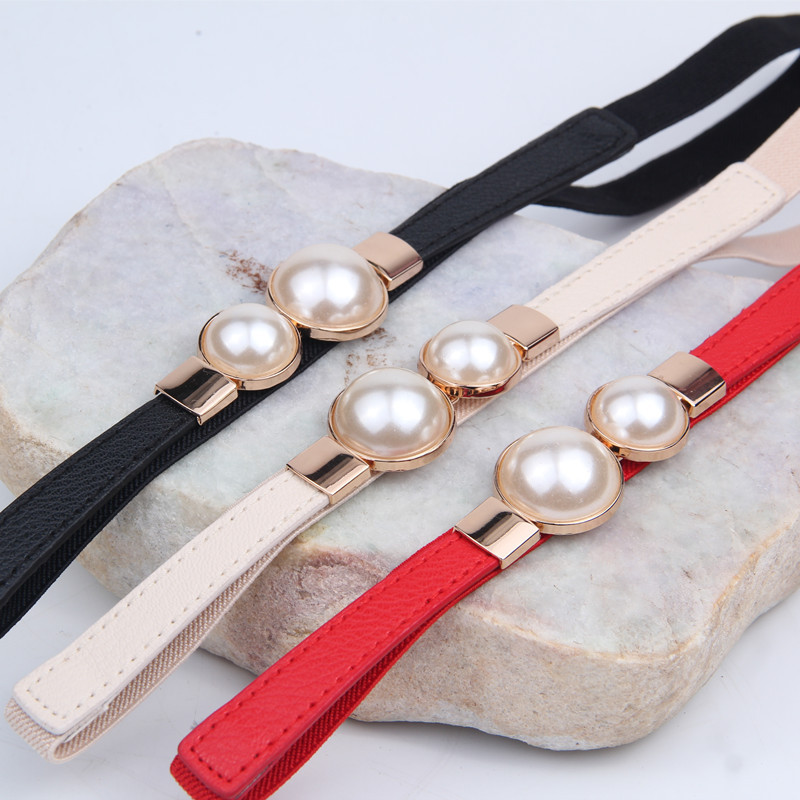 Fashion Thin PU Leather Belt Simulated Pearl Waist Belts Women Dress Strap Skirt Decoration Fashion Girdles Gifts