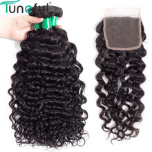 Indian Water Wave Bundles With Lace Closure Hand Tied Tuneful Remy Hair Bundles With Closure Double Weft 4pcs/lot(China)