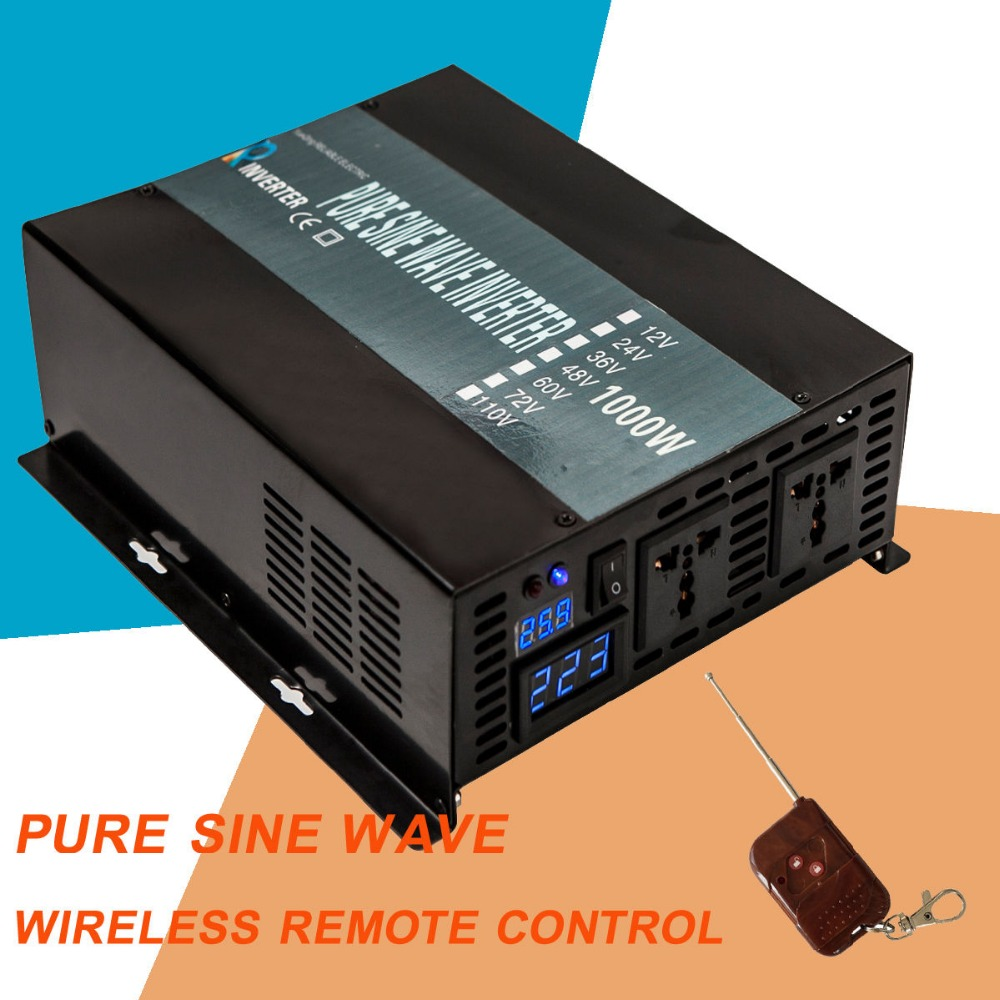 Solar Power Inverter 1000Watt 24V 220V Pure Sine Wave Inverter Converter 12V/24V/48V DC to 110V/120V/230V/240V AC Remote Control 2500w full power pure sine wave solar inverter 12v 220v car power inverter 12v 24v 48v 110v dc to 110v 120v 240v ac converter