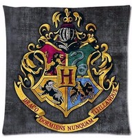 Unique Harry Potter Hogwarts School Sign Gryffindor Ravenclaw Hufflepuff Slytherin Custom Zippered Square Pillowcase Throw Cover