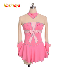 customized clothes figure skating dress rhythmic gymnastics adult child girl show skirt competition pink knot shiny rhinestone