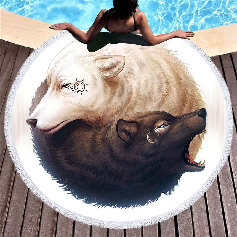 Toalla redonda con estampado de lobo