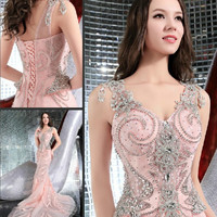 Custom Made Mermaid V neck Crystal Diamond Beaded Evening Dress Pink Ivory Sexy Luxury Evening Gowns Prom Party Dresses EV01