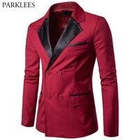Red Blazer Men 2017 Brand New Double Breasted Men Blazer Autumn Casual Pocket Men Suit Jacket Slim Fit Winter Blazer Veste Homme