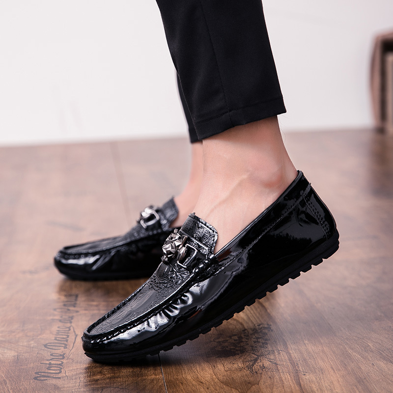 2018 New Fashion Brand Men Leather Casual Shoes Slip On Male Loafers Black Comfortable Footwear Non-slip Mens Rubber Shoes Sales 6