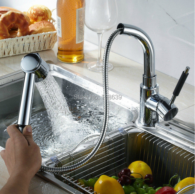 Free shipping 360 degree swivel pull out kitchen faucet polished Good quality brass chrome kitchen Vessel