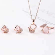 wholesale SGARIT brand fashion animal cute rose gold 925 sterling silver natural quartz pink crystal ring earring jewelry set