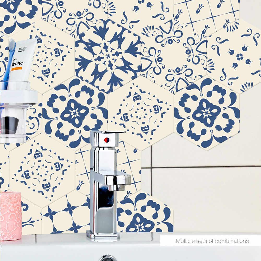 10 PCS New Phong Cách Màu Xanh Tầng Sticker Dán Gạch Tự LÀM Tự dính Hình Nền Cho Phòng Ngủ Sàn Phòng Tắm Không Thấm Nước Bức Tranh Tường đề can