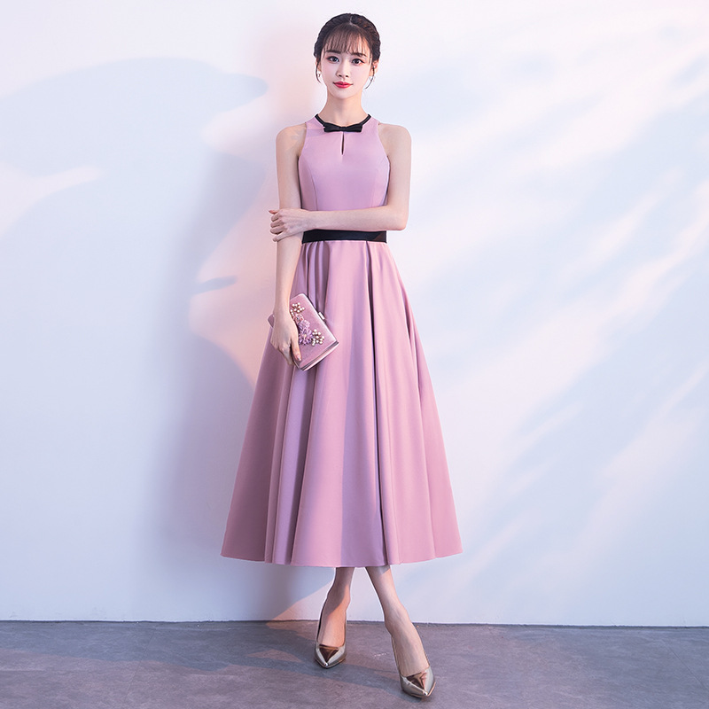 Cocktail     Dresses   Elegant Pink O-neck Tie Bow Party Gowns Simple Tea-length Sleeveless Zipper Back Formal   Dress   E405