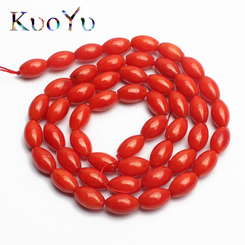"""Natural Red 5x8mm Agate Gemstone Rice-shaped Loose Beads 15/"""" Strand"""