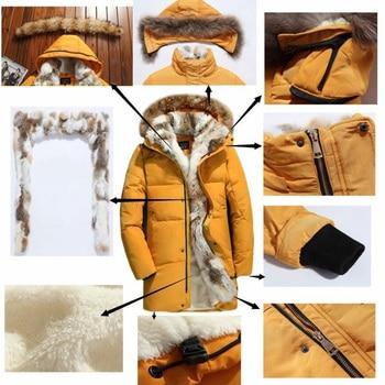 5XL White Duck Down Jacket 2019 Women Winter Goose Feather Coat Long Raccoon Fur Parka Warm Rabbit Plus Size Outerwear WJM19 5