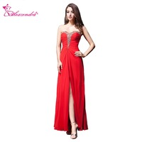 Alexzendra Red Sweetheart Beaded Side Slit Crossed Back Sexy A Line Prom Dresses Simple Party Dresses Plus Size